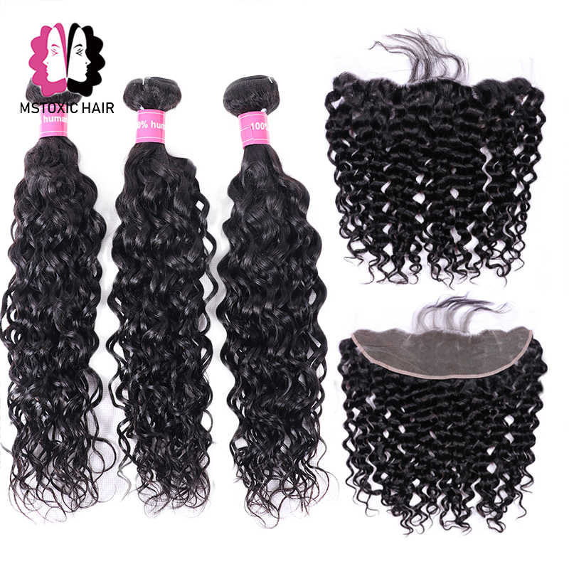 Mstoxic Brazilian Water Wave Bundles With Frontal Human Hair Bundles With Closure Remy Lace Frontal Closure With Bundles