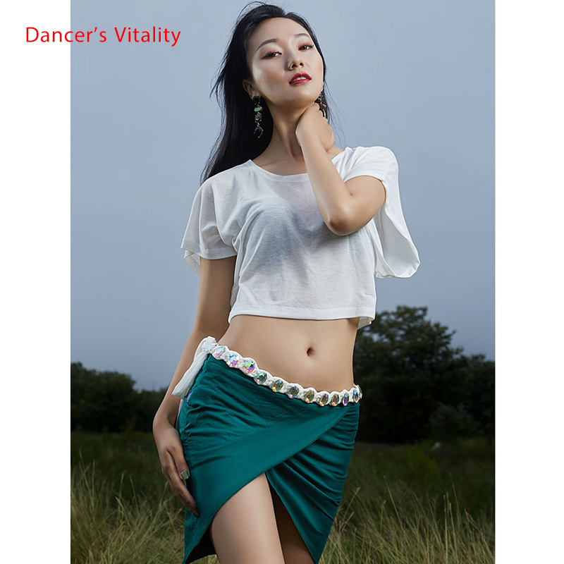 Summer New Arrival Short Sleeve Solid Color Oriental Dance Outfit Women Bellydance Show Wear  Free Delivery