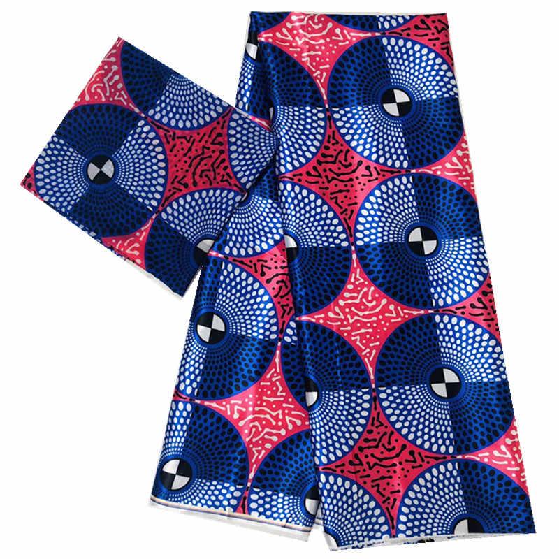 실크 왁스 패브릭 아프리카 패브릭 새틴 4 + 2 야드 쉬폰 고품질 실크 왁스 패브릭 파티 드레스 4 + 2 야드