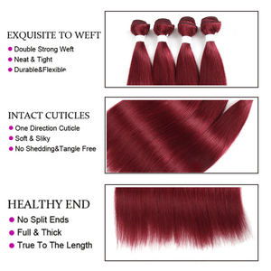 Image 5 - 99J/Burgundy Red Color Brazilian Straight Human Hair Bundles With Frontal 13x4 KEMY Pre Colored 3 Bundles With Closure Non Remy