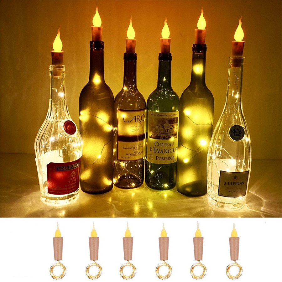 Thrisdar 10PCS 2M 20LEDS Candle Wine Bottle String Light Wine Bottle Flame Cork Lamp DIY Party Wedding Valentine's Day Garland
