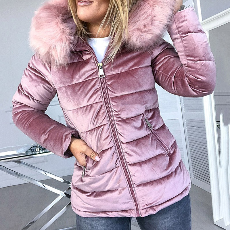 Women Cotton Padded Jackets Gray Pink Hood Fur Collar Thick Fashion Basic Snow Outerwear Winter Velvet Jacket Coat Plus Size
