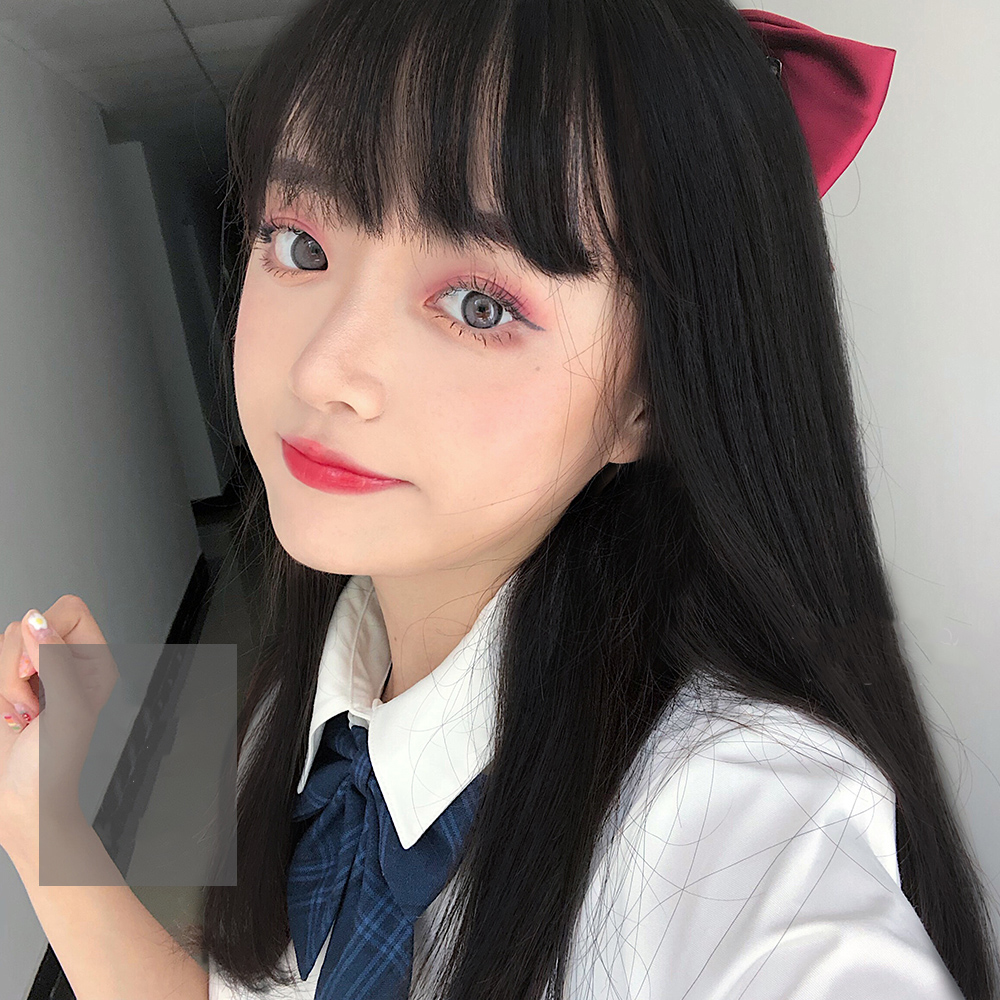MANWEI 35CM Lolita Short Straight Hair Hair Ombre Bangs  Black  Heat Resistant Party Synthetic Hair Cosplay Wig
