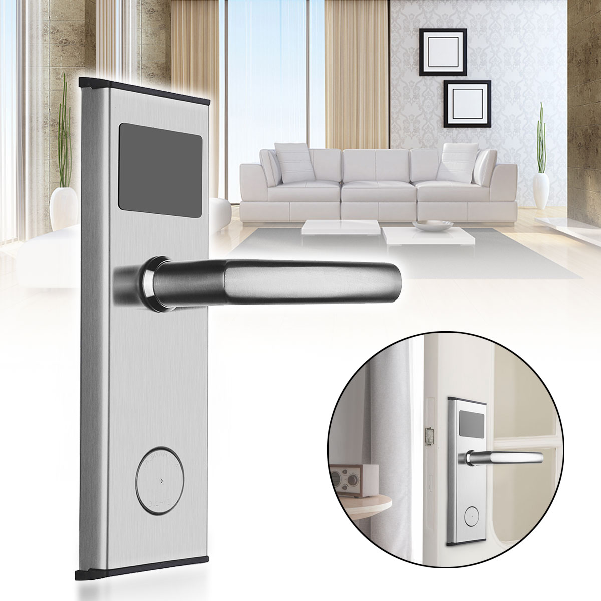 Safurance Digital Card Lock Security Stainless Steel Intelligent RFID Digital Card Key Unlock Hotel Door Lock System Door Locks