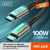 INIU-Cable USB tipo C a USB de 100W, USB-C de carga rápida PD 5A para Huawei, Samsung S20, Xiaomi, Macbook, iPad Pro