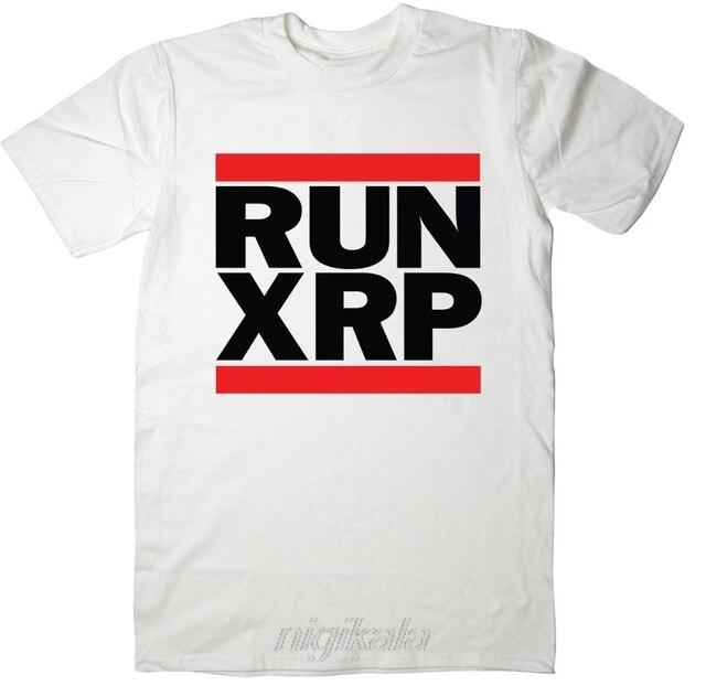 Newest T Shirt Men Tshirt RUN XRP - Ripple T-Shirt - Run DMC Spoof - Cryptocurrency Bitcoin BTC Mining T Shirt