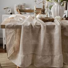 Ruffle Polyester Linen Plain Tablecloth Tassel Rectangular Tablecloths Dining Table Cover Obrus Tafelkleed mantel mesa nappe