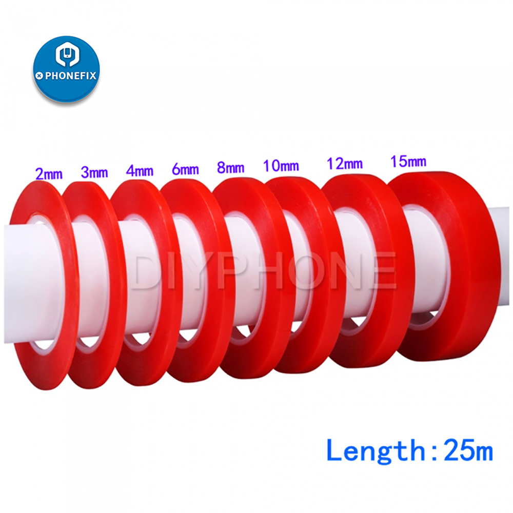 Adhesive Double Sided Tape PET Acrylic Sticky Tape High Temperature Red Film Sticker For Phone Panel Lens Camera Screen Repair