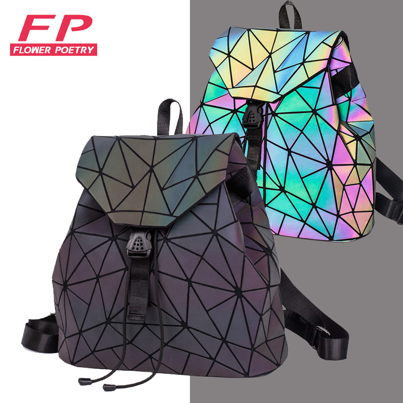 Backpacks Women Geometric Luminous Backpacks School Lattice Holographic Backpack PU Leather Female Bags Girl Travel Student Bag