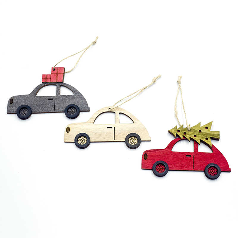 Merry Christmas Tree Car Decorations Wooden Hanging Pendant Note Christmas Decorations For Home New Year Gift Drop Shipping