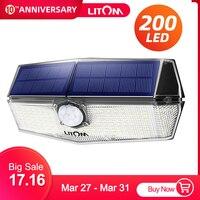 업그레이드 LITOM 200 LED 태양 빛 IPX7 방수 모션 센서 벽 빛 3 조절 모드 및 270 광각 정원 램프 태양광 램프    -