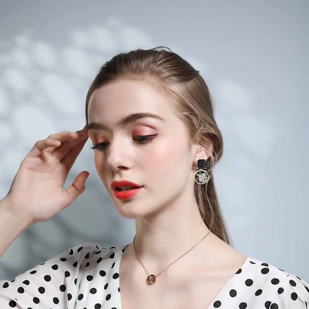 Винтажные серьги черного цвета с металлическим кристаллом, акриловые серьги ручной работы для девушек, вечерние ювелирные изделия, модные ...