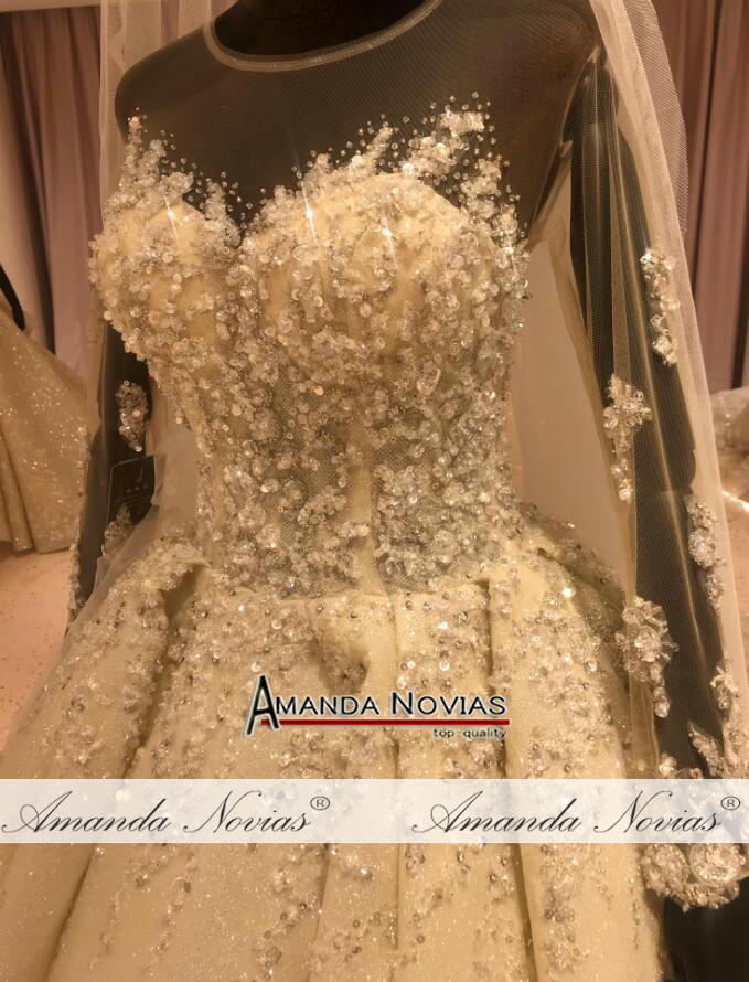 Image 4 - فستان عروس فاخر 2020 مطرز بالكامل فستان زفاف عمل حقيقي ماركة أماندا نوفيافساتين الزفاف   -