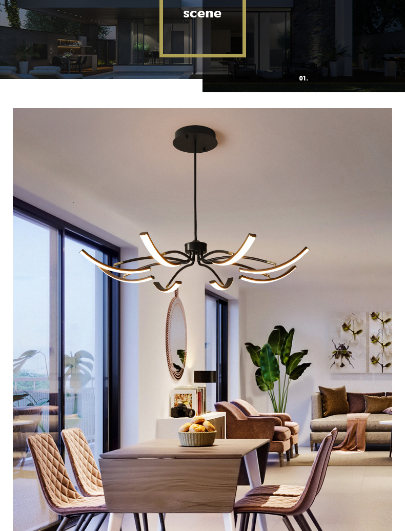 H111023533fb04268b297cfeb6888923cE MDWELL Matte Black/White Finished Modern Led Ceiling Lights for living room bedroom study room Adjustable New Led Ceiling Lamp