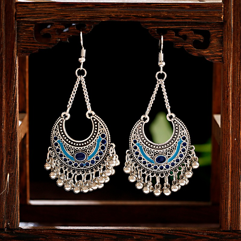 TopHanqi Boho Ethnic Gypsy Alloy Small Bell Tassel Drop Indian Jhumka Earrings For Women Girls Dripping Oils Jewelry Gifts 2019