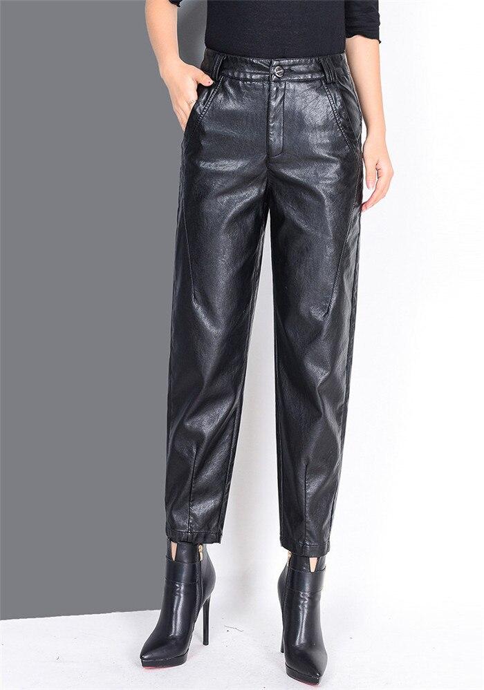 Pantalon en cuir femmes grande taille 2019 nouveau pantalon en cuir pour femmes taille haute harem chaud hiver pantalon velours