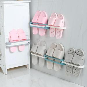 Adjustable Space-saving Wall-mounted Slipper Shoes Rack Support Slot No-punch Bathroom Shower Shelf Cabinet Stand Holder