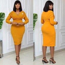 MD femme Robe 2021 printemps été mince bureau crayon robes moulantes élégant dame tenues col en v vêtements africains Robe de mode