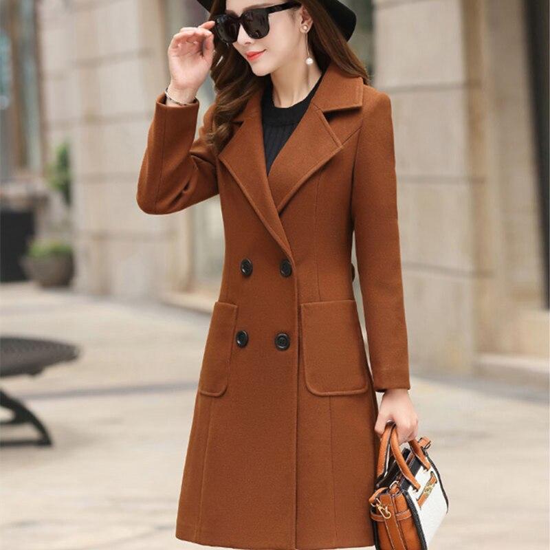 Outerwear Overcoat Autumn Jacket Casual Women New Fashion Long Woolen Coat Single Breasted Slim Type Female Winter Wool Coats 1