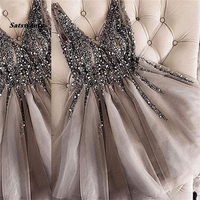 Sparkle Crystal Beaded Short Cocktail Dresses Gray Homecoming Dress Double V neck Sexy Shiny Mini Prom Gowns Abiye Vestidos