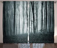 Mystical Curtains Grunge Color Shade Foggy Mystical Dark Forest Tall Trees Horror Theme Print Living Room Bedroom Window Drapes