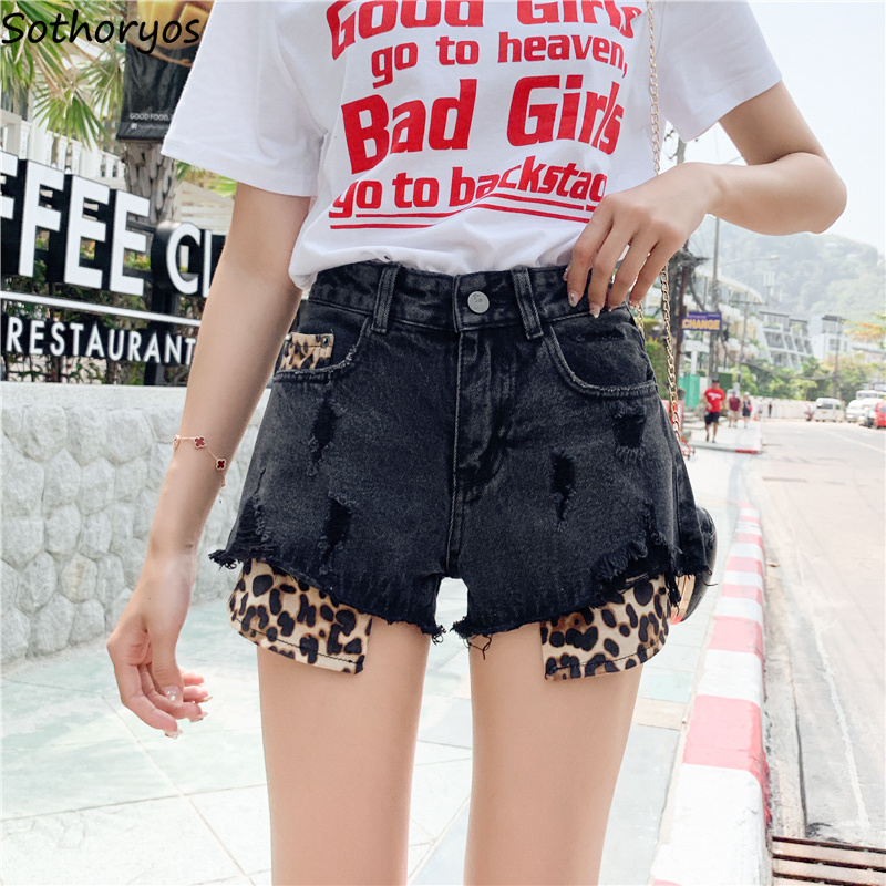 Shorts Women Patchwork Leopard Simple Elegant All-match Trendy Students High Waist Womens Loose Korean Style Ladies Pockets Chic