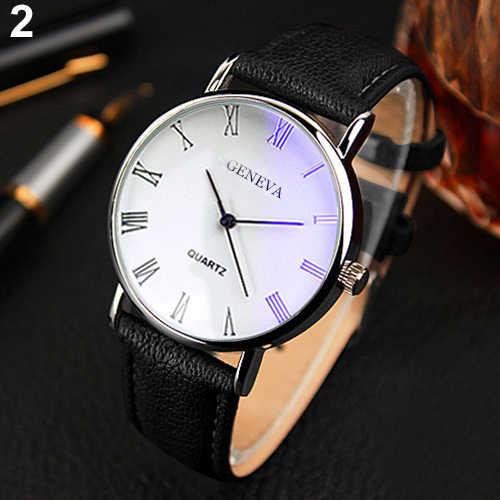 남자 시계 로마 숫자 블루 레이 가짜 가죽 밴드 석영 아날로그 비즈니스 손목 시계 몽블랑 시계