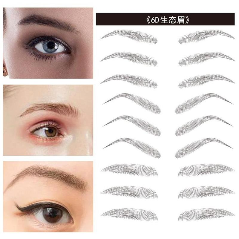 Magic 6D False Eyebrows Waterproof Lasting Hair-like Eyebrow Tattoo Sticker Eye Makeup Water-based Eye Brow Stickers Cosmetics