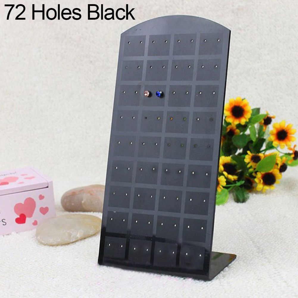 24/48/72 buracos Jóias Brincos Organizador Titular Display Stand Rack de Plástico Brincos de Exibição de Jóias Caixa de Armazenamento de Utilidade stand