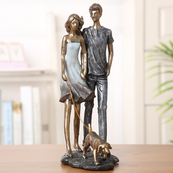 Couple Walking With Dog Handmade Resin Statue 2