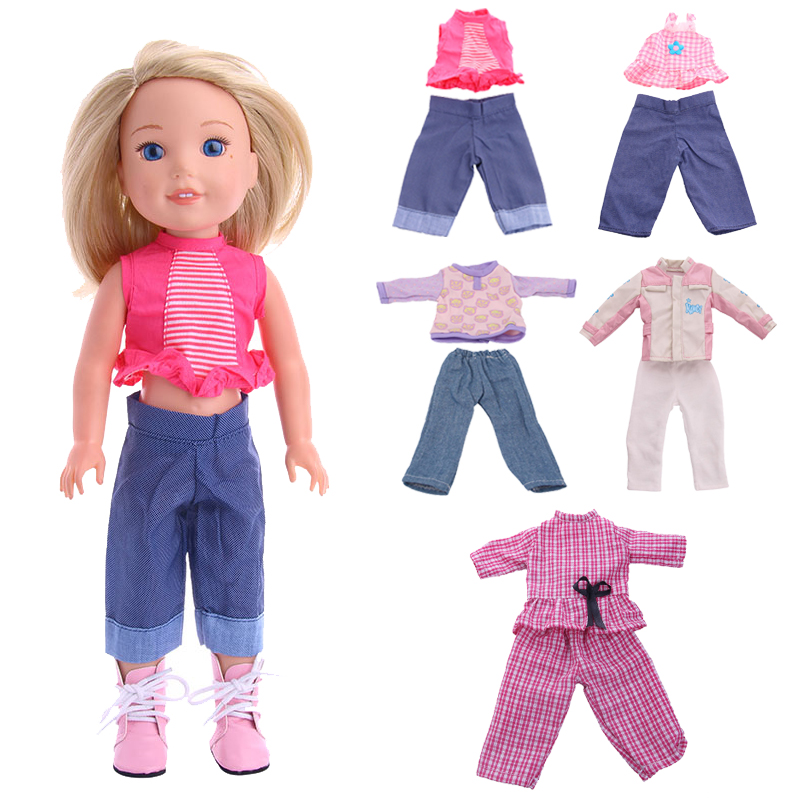 New Doll Clothes Set = Tops + Pants & Dresses For 14.5 Inch Doll Wellie Wisher American Doll Clothes Christmas Birthday Gifts
