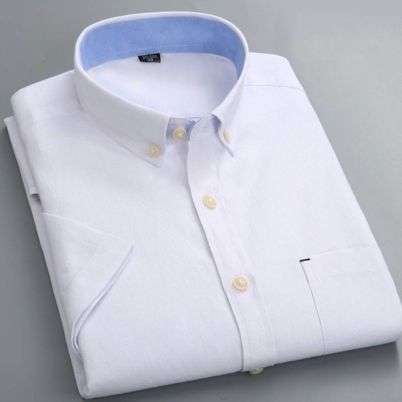 Men's Shirt Solid Color Short Sleeve White Button Left Chest Pocket Oxford Textile Casual Workwear Top Brand Shirt Shirt Reserve