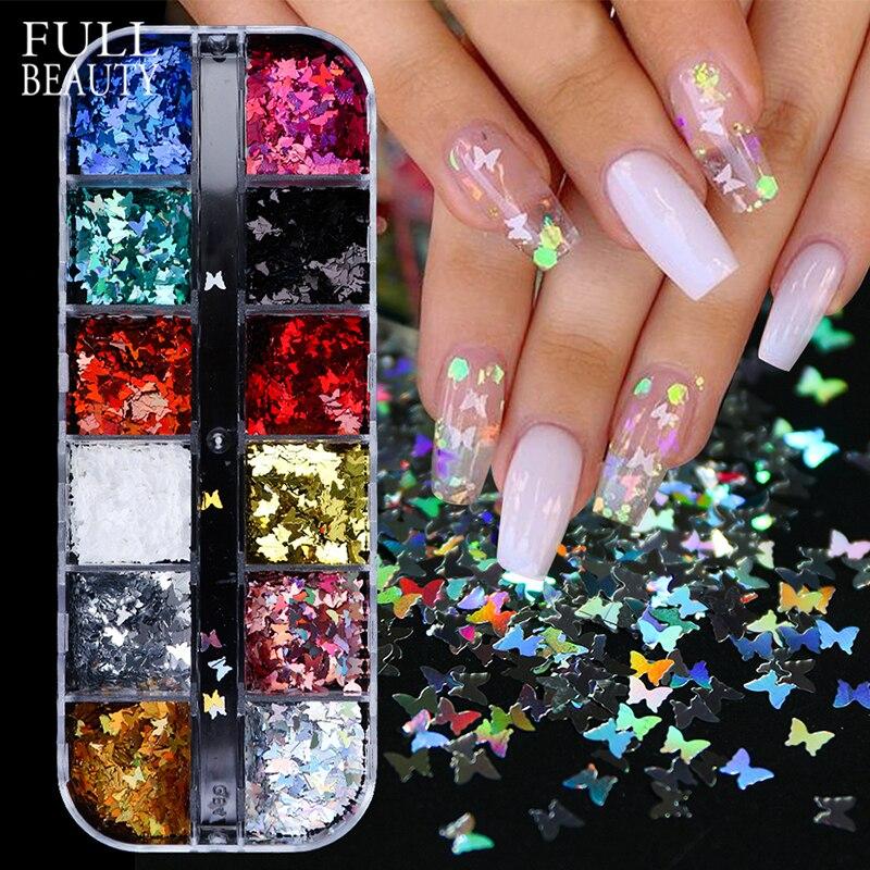 3D бабочка ломтик ногтей блёстки голографические радужные блестящие украшения для ногтей красочный Маникюр 12 в 1 Набор CH1558-1