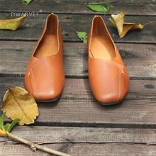 Handmade Retro Soft Leather Loafers Designers Flats For Women Brown/Gray Slip Ons