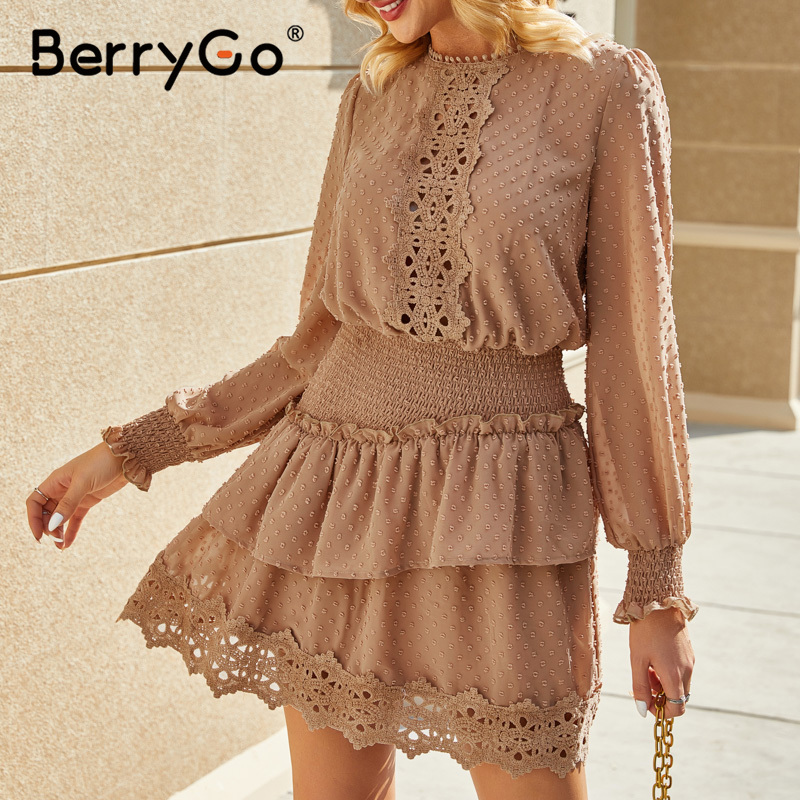 Image 3 - BerryGo Spring summer embroidery lace dress Elegant ruffle elastic waist women dress Polka dot ladies short dress female vestidoDresses   -