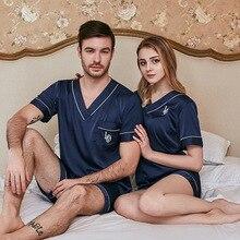 Men Women Pajamas Set Soft Imitation Silk Print Shirt Pants Couple Sleepwear Pajama Sets Unisex Pyjamas Sleepwear