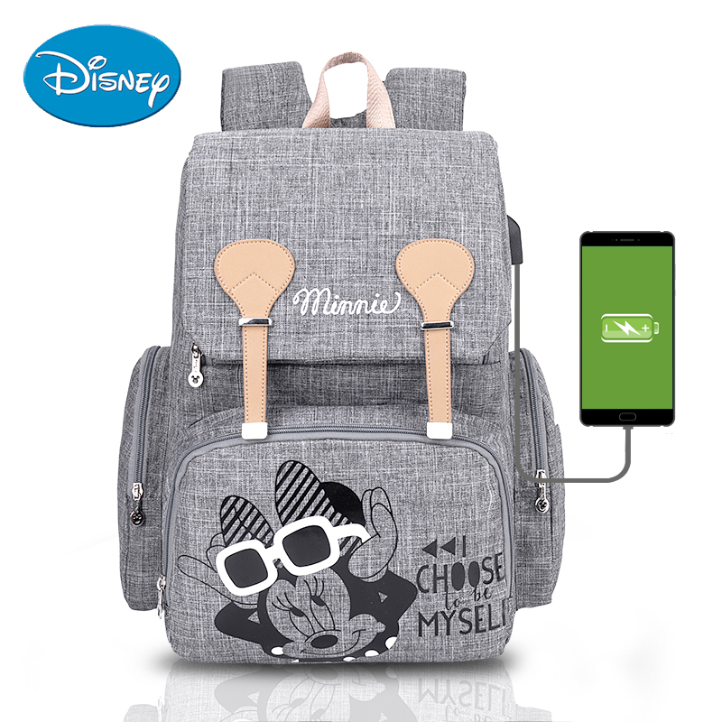 Disney Baby Diaper Bag Backpack With USB Nappy Waterproof Maternity Baby Bag For Mum Mummy Maternity Nappy  Backpack For Mummy