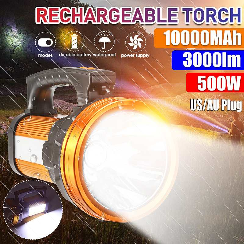 3000LM 500W searchlight outdoor portable searchlight rechargeable LED work light flashlight rechargeable battery spotlight