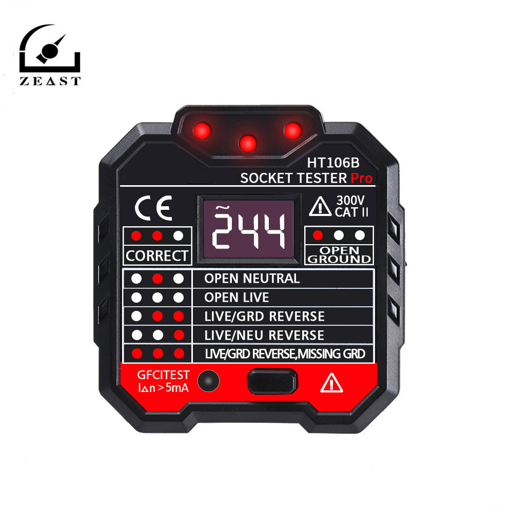 HT106B Socket Outlet Tester Circuit Polarity Voltage Detector EU/US/UK Plug Wall Plug Breaker Finder RCD Tester
