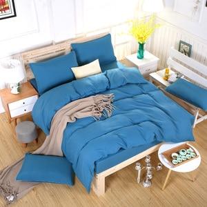 Image 2 - Conjunto de cama minimalista, jogo de cama de tinta azul e com fronha, fronha cinza, confortável e macia, queen, para o verão completo