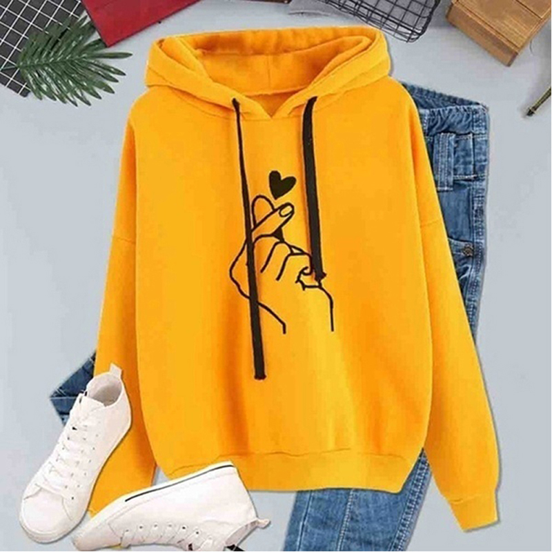 2019 Women's Autumn Sweatshirt Tops Kpop Finger Heart Love Pattern Hooded Sweatshirts Drawstring Long Sleeve Female Pullovers