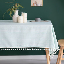 Nordic style tablecloth, cotton and linen small fresh waterproof coffee table cloth
