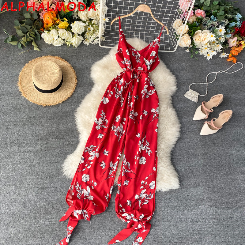ALPHALMODA 2020 Summer Seashore Printed Jumpsuit V-neck Binding Cuff Ladies Casual Summer Jumpsuit