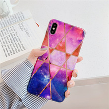 Plating geometric lines purple soft for case iphone 8 6 6s xr xs cover shiny marble 7 Plus 7plus max coque