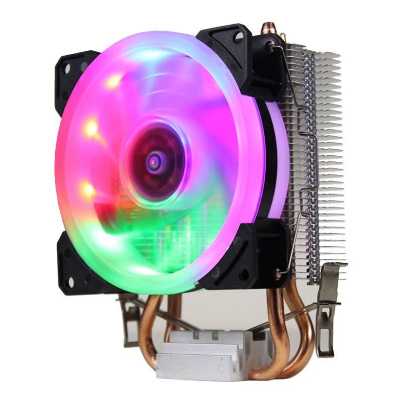 RGB LED CPU Cooler Fan 2 Heatpipe 12V Cooler Cooling Fan Heat Sink Radiator For Intel LAG 1150 1155 1156 775 For AMD