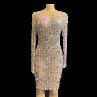 Luxurious Rhinestones Pearl Mesh Long Sleeve Short Dresses Women Birthday Celebrate Prom Party Dress Singer Performance Outfit