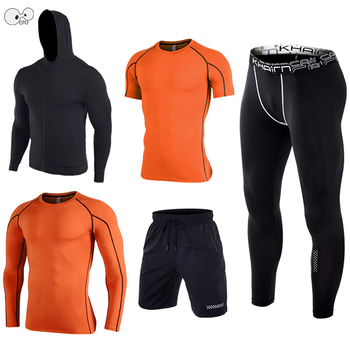 5 Pcs Elastic Dry Fit Men's Workout Running Suit Compression Sportswear Gym Tights Training Clothes Jogging Sports Set Tracksuit
