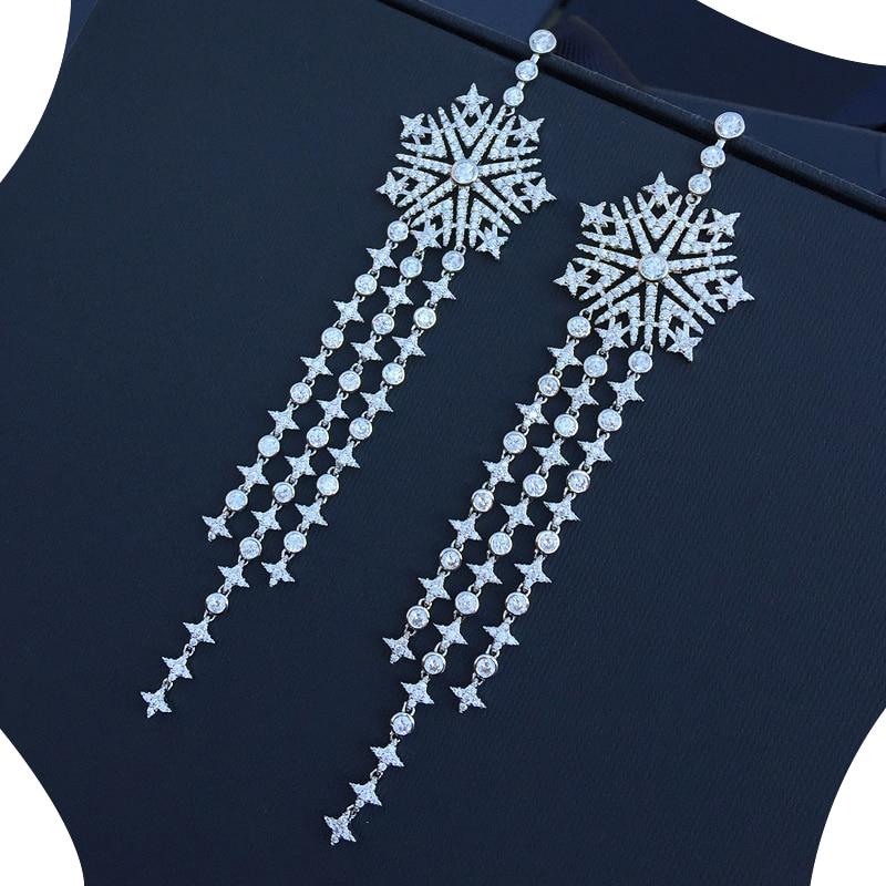 XIUMEIYIZU Snowflake Tassel Long Earrings Paved Luxury Cubic Zirconia Earrings Fashion Wedding Gold/Rhodium Plating Jewelry