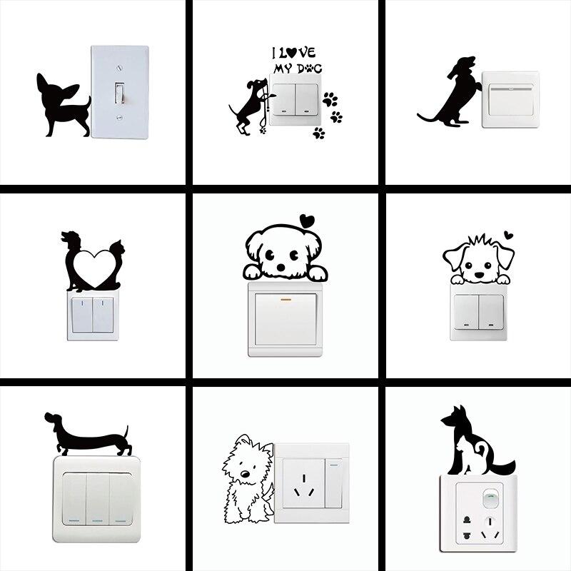 Gatos Perros Pegatinas de pared calcomanías de dibujos de animales viven Dormitorio Decoraciones de conmutador