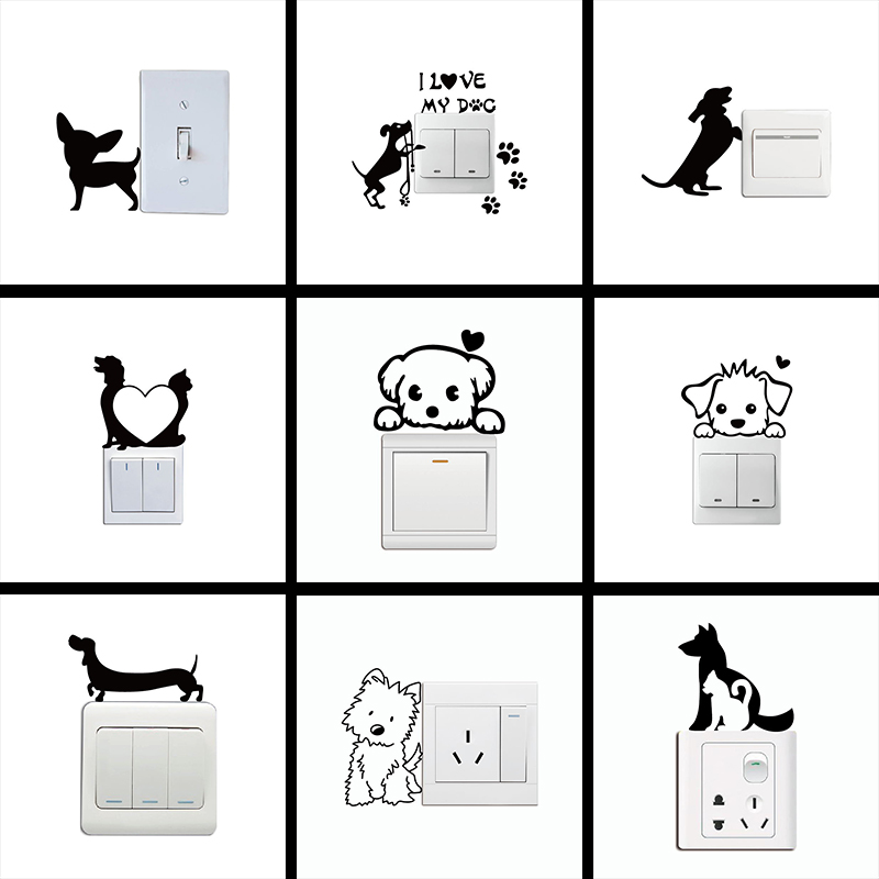 Cute Dog Light Switch Sticker Cartoon Animal Vinyl Wall Stickers for Kids Rooms Bedroom Living Room Home Decor